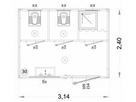 Container MODELL N1 | WC, WASCHBECKEN UND DUSCHE, VERSCHIEDENE TOILETTEN - 3.14 M | Container.biz