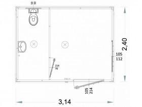 Container Modell G2 - WC und Waschbecken - 3,14 m. | Container.biz