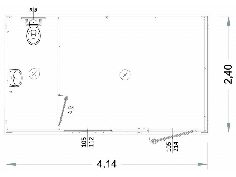 Container Modell  G2 - WC und Waschbecken - 4,14 m. | Container.biz
