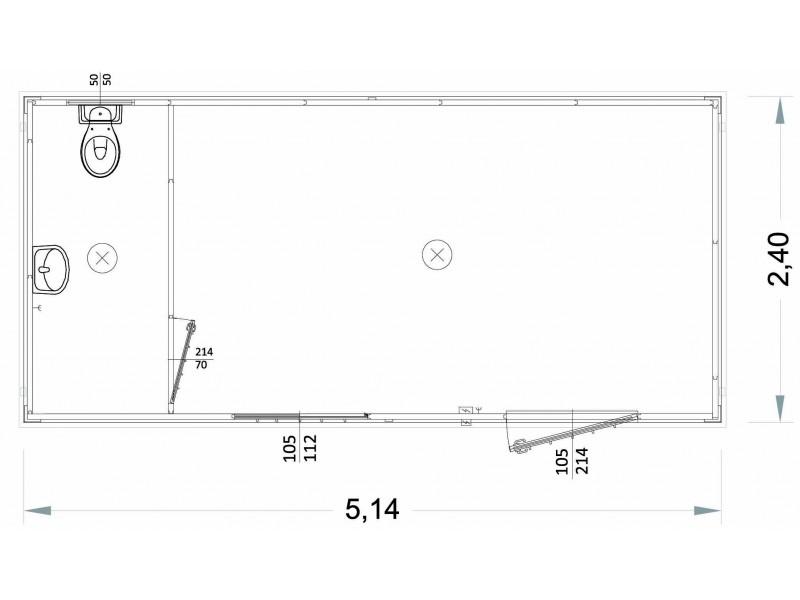 Box Prefabbricati Modello G2 - WC e lavabo - 5,14 m. | Box & Box