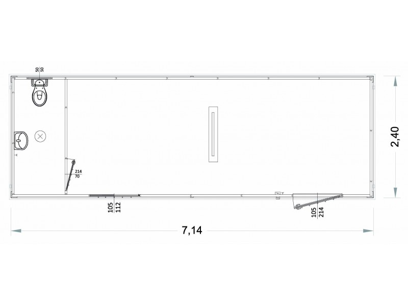 Container Modell  G2 - WC und Waschbecken - 7,14 m. | Container.biz