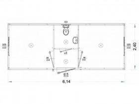 Container Modell K1 - WC und Waschbecken, zentrale Toilette - 6,14 m. | Container.biz