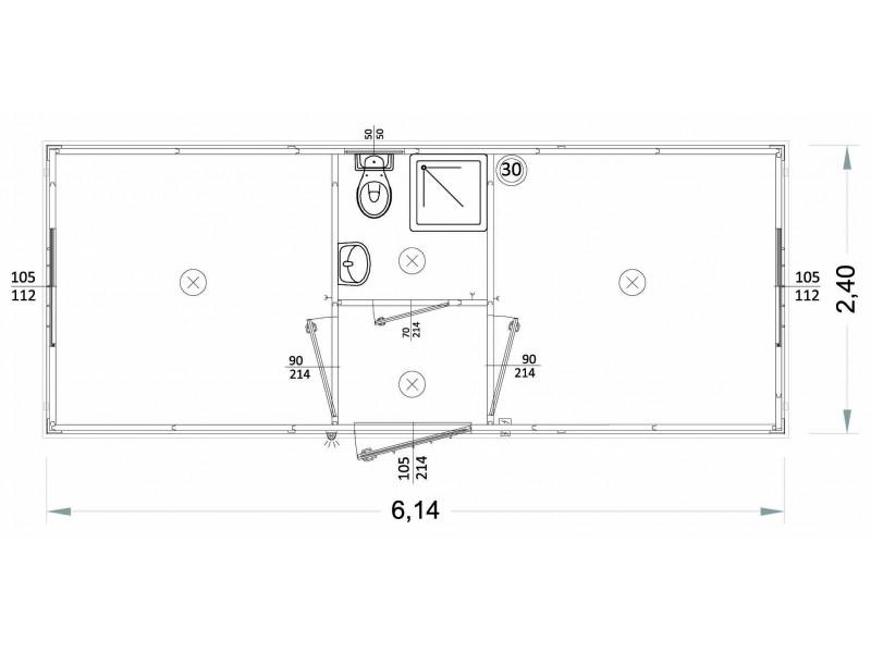 Container Modell L1 - WC, Waschbecken und Dusche, zentrale Toilette - 6,14 m. | Container.biz