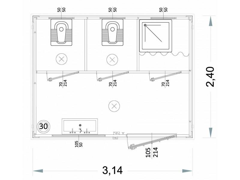 Containeren Modell N1 - WC, Waschbecken und Dusche, verschiedene Toiletten - 3,14 m.   Container.biz
