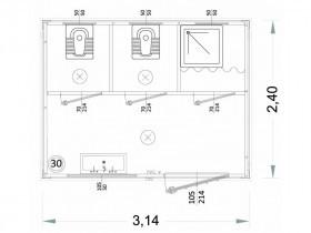 Box Prefabbricati Modello N1 - Wc, Lavabo E Doccia, Servizi igienici Vari - 3,14 m. | Box & Box