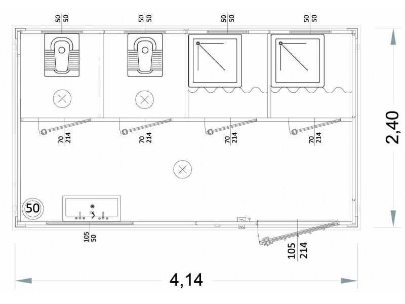 Box Prefabbricati Modello N1 - Wc, Lavabo E Doccia, Servizi igienici Vari - 4,14 m. | Box & Box