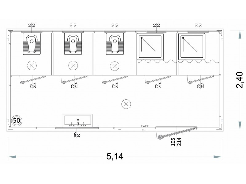 Containeren Modell N1 - WC, Waschbecken und Dusche, verschiedene Toiletten - 5,14 m. | Container.biz