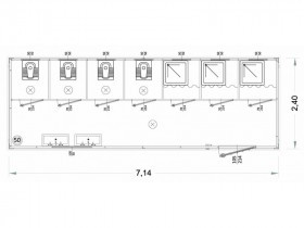 Box Prefabbricati Modello N1 - Wc, Lavabo E Doccia, Servizi igienici Vari - 7,14 m. | Box & Box