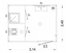 Box Prefabbricati Con Bagno e Doccia - Lungo 3 Metri | Container.it