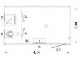 Containeren Modell P1 - WC, Waschbecken und Dusche, getrennte Toiletten - 4,14 m. | Container.biz