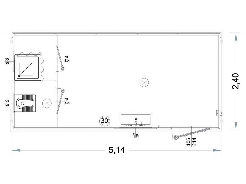 Box Prefabbricati Modello P1 - Wc, Lavabo E Doccia, Servizi Separati - 5,14 m. | Box & Box