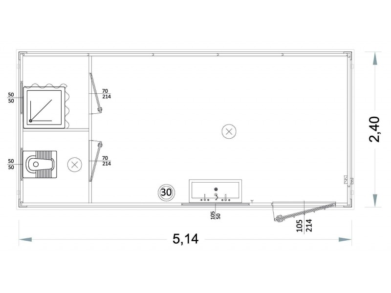 Containeren Modell P1 - WC, Waschbecken und Dusche, getrennte Toiletten - 5,14 m. | Container.biz