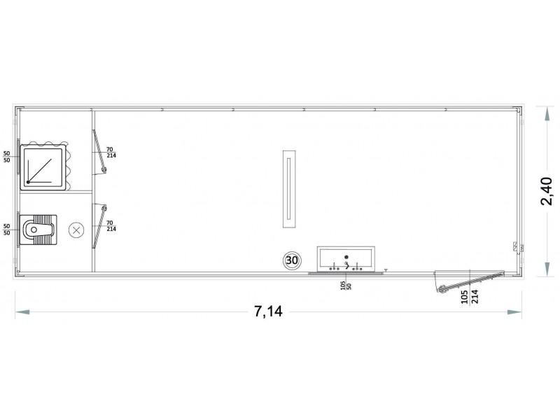 Box Prefabbricati Modello P1 - Wc, Lavabo E Doccia, Servizi Separati - 7,14 m. | Box & Box