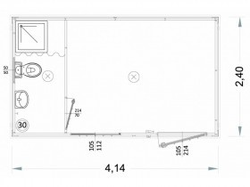 Box Prefabbricati Open Space H1 - WC, lavabo e doccia - 4,14 m. | Box & Box