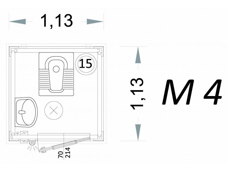Vorgefertigte Kabine Modell C1 - 1,13 x 1,13 x 2,15 h - M4 | Container.biz