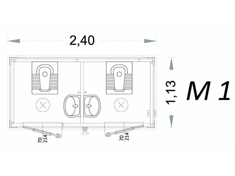 Vorgefertigte Kabine Modell C2 - 2,40 x 1,13 x 2,15h - M1 | Container.biz