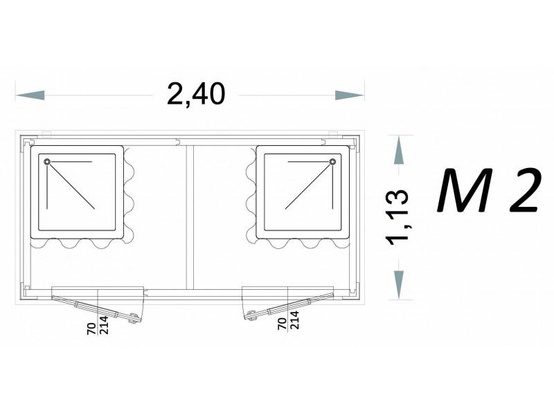 Vorgefertigte Kabine Modell C2 - 2,40 x 1,13 x 2,15h - M2 | Container.biz