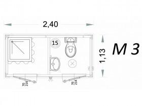 Vorgefertigte Kabine Modell C2 - 2,40 x 1,13 x 2,15h - M3 | Container.biz