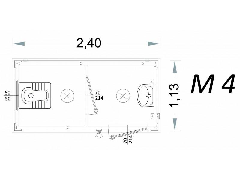 Cabina Prefabbricata Modello C2 - 2,40 x 1,13 x 2,15h - M4 | Box & Box