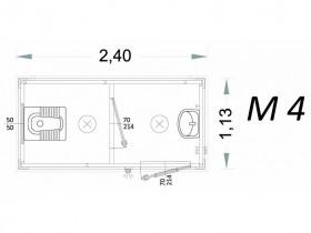 Vorgefertigte Kabine Modell C2 - 2,40 x 1,13 x 2,15h - M4 | Container.biz
