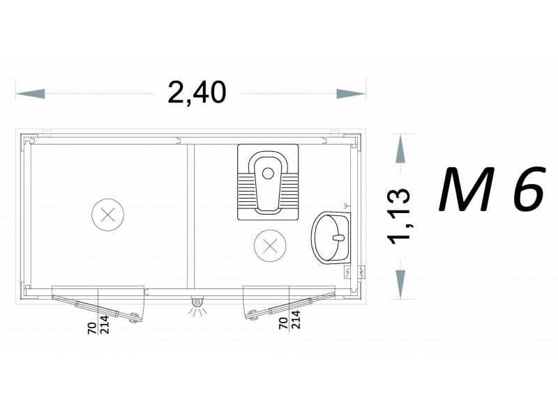 Vorgefertigte Kabine Modell C2 - 2,40 x 1,13 x 2,15h - M6 | Container.biz
