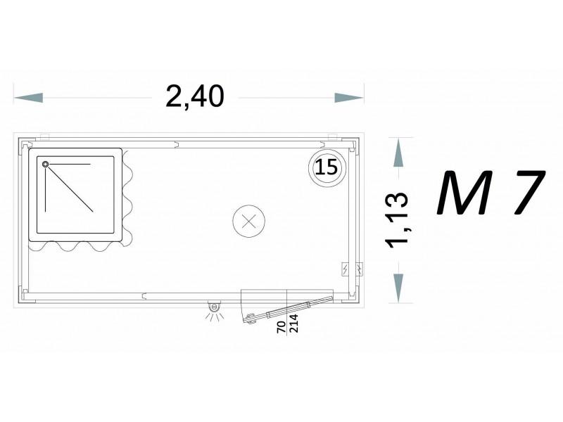 Vorgefertigte Kabine Modell C2 - 2,40 x 1,13 x 2,15h - M7 | Container.biz