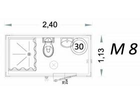 Vorgefertigte Kabine Modell C2 - 2,40 x 1,13 x 2,15h - M8 | Container.biz