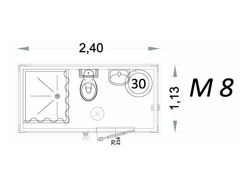 Cabina Prefabbricata Modello C2 - 2,40 x 1,13 x 2,15h - M8 | Box & Box