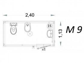 Vorgefertigte Kabine Modell C2 - 2,40 x 1,13 x 2,15h - M9 | Container.biz