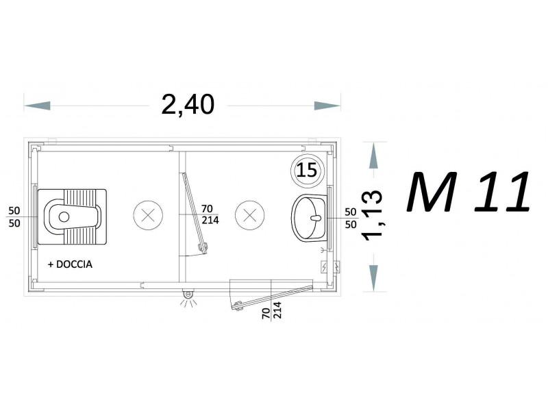 Vorgefertigte Kabine Modell C2 - 2,40 x 1,13 x 2,15h - M11 | Container.biz