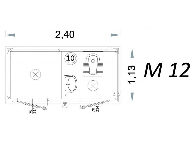 Vorgefertigte Kabine Modell C2 - 2,40 x 1,13 x 2,15h - M12 | Container.biz