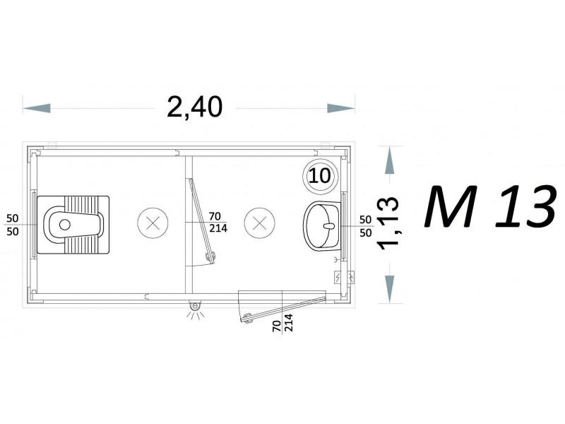 Vorgefertigte Kabine Modell C2 - 2,40 x 1,13 x 2,15h - M13 | Container.biz