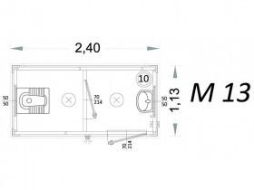 Cabina Prefabbricata Modello C2 - 2,40 x 1,13 x 2,15h - M13 | Box & Box