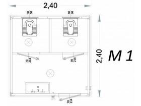 Vorgefertigte Kabine Modell C3 - 2,40 x 2,40 x 2,15h - M1 | Container.biz