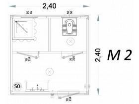 Vorgefertigte Kabine Modell C3 - 2,40 x 2,40 x 2,15h - M2 | Container.biz