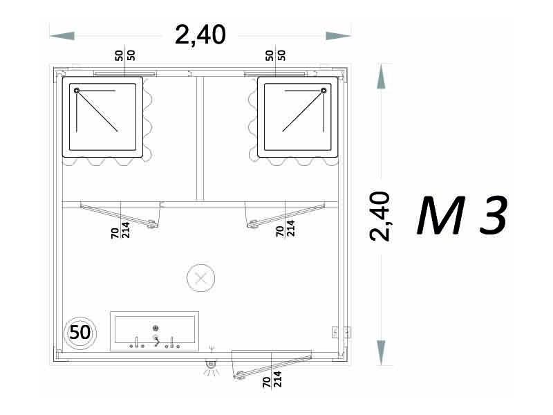 Cabina Prefabbricata Modello C3 - 2,40 x 2,40 x 2,15h - M3 | Box & Box