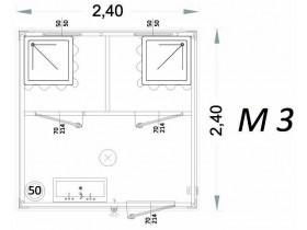 Vorgefertigte Kabine Modell C3 - 2,40 x 2,40 x 2,15h - M3 | Container.biz