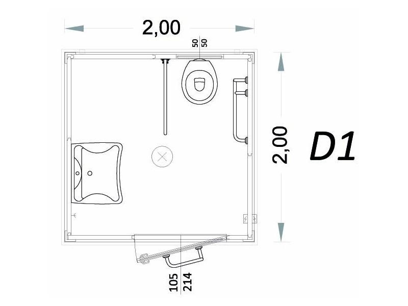 Container für Behinderte Modell D - 2,00 x 2,00 x 2,40h - D1 | Container.biz
