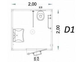Monoblocco per disabili Modello D - 2,00 x 2,00 x 2,40h - D1 | Box & Box