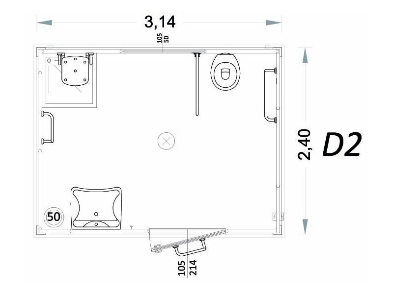 Container für Behinderte Modell D - 3,14 x 2,40 x 2,40h - D2 | Container.biz