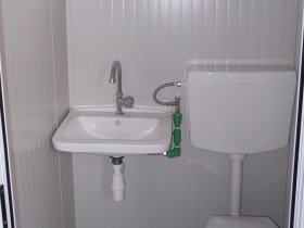 Container Modell K1 - WC und Waschbecken, zentrale Toilette - 8,14 m. | Container.biz