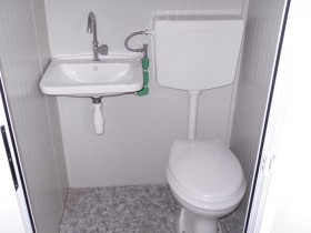 Containeren Modell N1 - WC, Waschbecken und Dusche, verschiedene Toiletten - 4,14 m. | Container.biz
